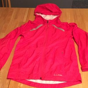 L L Bean pink kids rain jacket